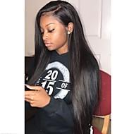 Remy hår Helblonde Paryk Brasiliansk hår Silke Ret Paryk Frisure i lag 130% Med Baby Hair / Natural Hairline / Til sorte kvinder Sort Dame Lang Blondeparykker af menneskehår