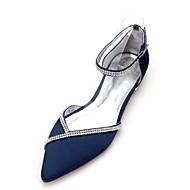 Mujer Bailarinas Satén Primavera verano Minimalismo Zapatos de boda Tacón Plano Dedo Puntiagudo Pedrería Borgoña / Champaña / Marfil / Boda / Fiesta y Noche