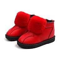 baratos Sapatos de Menino-Para Meninos / Para Meninas Sapatos Couro Ecológico Primavera & Outono / Primavera Verão Conforto / Botas de Neve Botas Caminhada Ziper / Combinação / Pom Pom para Infantil Preto / Vermelho