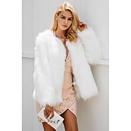 Per donna Per uscire Standard Cappotto di pelliccia, Tinta unita A V Manica lunga Pelliccia sintetica Beige / Grigio / Cachi XL / XXL / XXXL