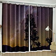 billige Mørkleggingsgardiner-3D gardiner Soverom Geometrisk Polyester Reaktivt Trykk