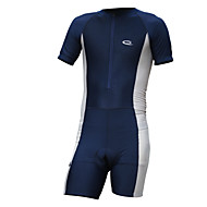 Ανδρικά Κοντομάνικο Φανέλα και σορτς ποδηλασίας - Μπλε Βαθυγάλαζο Συμπαγές Χρώμα Ποδήλατο Κοντά Παντελονάκια Αθλητική μπλούζα Ρούχα σύνολα Αναπνέει 3D Pad Γρήγορο Στέγνωμα Αθλητισμός Spandex Λίκρα