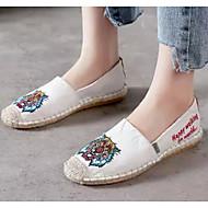 baratos Sapatos Femininos-Mulheres Alpercatas Linho Verão Mocassins e Slip-Ons Sem Salto Branco / Preto
