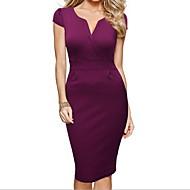 Жен. Офис Классический Тонкие Оболочка Платье - Однотонный V-образный вырез До колена