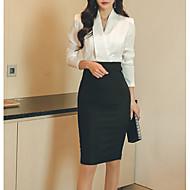 Women's Daily Work Basic Slim Bodycon Dress - Color Block V Neck Spring Cotton White M L XL