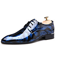 baratos Sapatos de Tamanho Pequeno-Homens Impressão Oxfords Couro Envernizado Outono Casual / Formais Oxfords Não escorregar Marron / Azul / Vinho