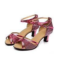 billige Kustomiserte dansesko-Dame Moderne sko Syntetisk Sandaler Kubansk hæl Kan spesialtilpasses Dansesko Fersken / Rød / Blå