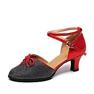billige Kustomiserte dansesko-Dame Moderne sko Syntetisk Sandaler Kubansk hæl Kan spesialtilpasses Dansesko Sølv / Rød / Blå