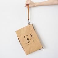 baratos Clutches & Bolsas de Noite-Mulheres Bolsas Papel Bolsa de Mão Ziper Côr Sólida Preto / Khaki