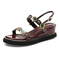 baratos Sapatos Femininos-Mulheres Sapatos Confortáveis Couro Sintético Verão Sandálias Sem Salto Marron
