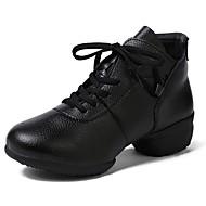billige Dansesneakers-Dame Dansesko Griseskinn Joggesko Tvinning Flat hæl Kan spesialtilpasses Dansesko Svart