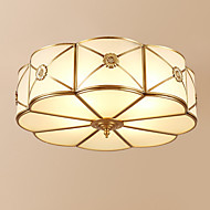 billige Taklamper-3-Light Sirkelformet Takplafond Omgivelseslys Antikk Messing Metall Glass Kreativ 110-120V / 220-240V Varm Hvit