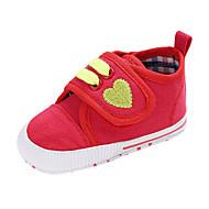 baratos Sapatos de Menino-Para Meninos / Para Meninas Sapatos Lona Outono & inverno Conforto / Primeiros Passos Botas Presilha / Tira Trançada / Velcro para Bebê Roxo / Vermelho / Amêndoa