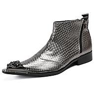 baratos Sapatos Masculinos-Homens Fashion Boots Pele Napa Inverno Casual / Formais Botas À Prova-de-Água Botas Cano Médio Prata / Festas & Noite