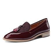 baratos Sapatos Femininos-Mulheres Sapatos Confortáveis Pêlo de Cavalo Outono & inverno Mocassins e Slip-Ons Salto de bloco Preto / Vinho