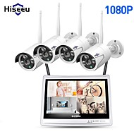 "cheap Wireless CCTV System-Hiseeu® 4CH 1080P Wireless NVR Kits 12"" LCD display HD outdoor security 2MP IP Camera video surveillance wifi cctv camera system"