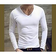 baratos -Homens Camiseta Básico Sólido Algodão Decote V Delgado / Manga Longa