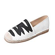 baratos Sapatos Femininos-Mulheres Alpercatas Linho Primavera Mocassins e Slip-Ons Sem Salto Branco / Preto