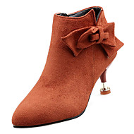 Women's Fashion Boots PU(Polyurethane) Fall Casual Boots Kitten Heel Booties / Ankle Boots Bowknot Black / Orange / Purple