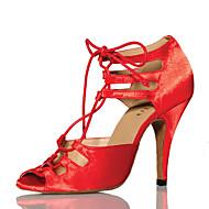 Per donna Scarpe per balli latini Raso Tacchi A fantasia Tacco a rocchetto Scarpe da ballo Rosso / Prestazioni / Da allenamento