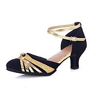 billige Moderne sko-Dame Moderne sko Sateng Sandaler / Høye hæler Sløyfe / Spenne Utsvingende hæl Kan spesialtilpasses Dansesko Svart