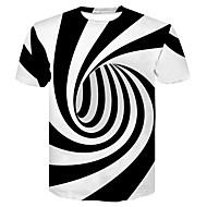 זול -פסים / 3D צווארון עגול בסיסי / סגנון רחוב מועדונים טישרט - בגדי ריקוד גברים דפוס שחור ולבן לבן XXL / שרוולים קצרים / קיץ
