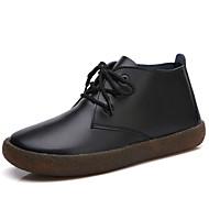 Damen Fashion Boots Leder Winter Klassisch / Freizeit Stiefel Flacher Absatz Mittelhohe Stiefel Weiß / Schwarz