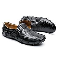 tanie Obuwie męskie-Męskie Skórzane buty Skóra Jesień i zima Casual Adidasy Antypoślizgowe Czarny / Brązowy