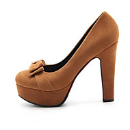 baratos Sapatos Femininos-Mulheres Stiletto Microfibra Verão Saltos Salto de bloco Preto / Amarelo / Amêndoa