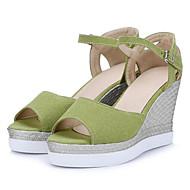 baratos Sapatos Femininos-Mulheres Sapatos Confortáveis Camurça Verão Sandálias Salto Plataforma Preto / Verde / Amêndoa