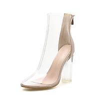 baratos Sapatos Femininos-Mulheres Sapatos transparentes PVC Primavera & Outono Minimalismo Botas Salto Alto de Cristal Ponta Redonda Botas Curtas / Ankle Amêndoa