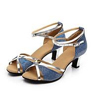 billige Moderne sko-Dame Moderne sko Syntetisk Sandaler Kubansk hæl Kan spesialtilpasses Dansesko Fersken / Rød / Blå