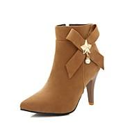 baratos Sapatos Femininos-Mulheres Fashion Boots Couro Ecológico Outono & inverno Botas Salto Agulha Dedo Apontado Botas Cano Médio Preto / Amarelo