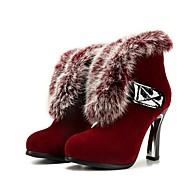 olcso -Női Kényelmes cipők Fordított bőr Ősz & tél Csizmák Vaskosabb sarok Fekete / Bor / Sötétbarna