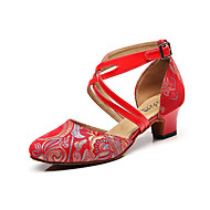 Shall We® Women's Modern Shoes Leather Sandal Animal Print Thick Heel Customizable Dance Shoes Red