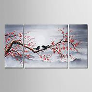 billiga Oljemålningar-Hang målad oljemålning HANDMÅLAD - Blommig / Botanisk Moderna Duk / Tre paneler