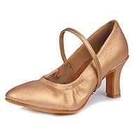 billige Kustomiserte dansesko-Dame Moderne sko Fuskelær Høye hæler Spenne Kubansk hæl Kan spesialtilpasses Dansesko Mørkebrun