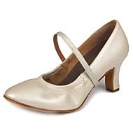 billige Kustomiserte dansesko-Dame Moderne sko Fuskelær Høye hæler Spenne Kubansk hæl Kan spesialtilpasses Dansesko Hvit