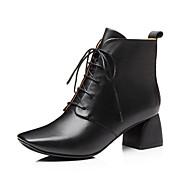 baratos Sapatos Femininos-Mulheres Fashion Boots Pele Napa Outono Botas Salto de bloco Dedo Fechado Botas Curtas / Ankle Preto / Castanho Claro