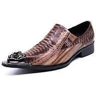 baratos Sapatos Masculinos-Homens Sapatos formais Pele Napa Outono Casual / Formais Mocassins e Slip-Ons Não escorregar Marron / Festas & Noite