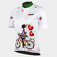 cheap -21Grams Women's Short Sleeve Cycling Jersey - White Floral / Botanical Bike Jersey Top, Breathable Quick Dry Ultraviolet Resistant 100% Polyester / Stretchy / Advanced / Back Pocket
