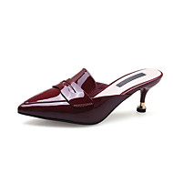 cheap Women's Clogs & Mules-Women's Comfort Shoes Nappa Leather Spring Clogs & Mules Stiletto Heel Black / Wine