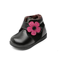 baratos Sapatos de Menina-Para Meninas Sapatos Pele Outono & inverno Curta / Ankle Botas Pedrarias / Velcro para Infantil / Bébé Preto / Vermelho / Rosa claro