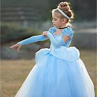 เจ้าหญิง Cinderella วินเทจ คอสเพลย์ โลลิต้า เครื่องแต่งกาย เด็กผู้หญิง หนึ่งชิ้น ชุดเดรส สีม่วง / ฟ้า Vintage คอสเพลย์ แขนสั้น แขนพอง