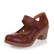 billige Moderne sko-Dame Moderne sko Fuskelær Høye hæler Sided Hollow Out Tykk hæl Kan spesialtilpasses Dansesko Beige / Brun / Rød
