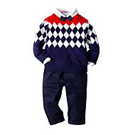 아동 / 토들러 남아 활동적 / 베이직 일상 / 생일 컬러 블럭 긴 소매 보통 보통 레이온 / 모달 / 폴리에스테르 의류 세트 네이비 블루