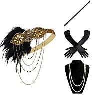Den store Gatsby Vintage 1920-tallet De livlige 20-årene Kostume Dame Hansker Flapperpannebånd i 1920-stil Hodeplagg Perlehalskjede Rød / Gylden / Gylden+Svart Vintage Cosplay Fest Skoleball
