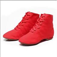 billige Jazz-sko-Dame / Jente Jazz-sko Lerret Flate Flat hæl Dansesko Hvit / Svart / Rød