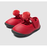 baratos Sapatos de Menina-Para Meninas Sapatos Sintéticos Inverno Primeiros Passos Tênis Velcro / Pom Pom para Bebê Preto / Vinho