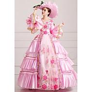 Victoriansk Kostymer i middelalderstil 18. århundre Kostume Dame Kjoler Party-kostyme Maskerade Vintage Cosplay Blonde Silke Satin Fest Skoleball Langermet Lang Lengde Ballkjole